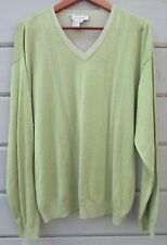 Ermenegildo Zegna Citron Green Tan V-Neck LS Cotton Blend Sweater Men's L ITALY