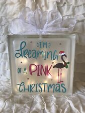 Glass Light Block Flamingo Pink Christmas Lamp Decoration Gift