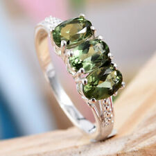 """AAA Songea Green Sapphire 925 Sterling Silver """"Trilogy"""" Ring."""