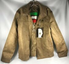 BV Clothing Italian Tan Brown Suede Leather Zipper Jacket Men (L) New w/ Tags
