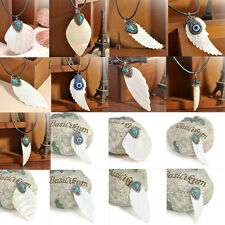 Luxury White Hand-carved Shell Crystal Wings Feather Leaf Pendant Necklace Gift
