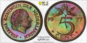1977 NETHERLANDS 5 CENTS PCGS MS63BN MONSTER TONED FINEST KNOWN WORLDWIDE