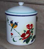 pot couvert en tole émaillée a décor d'oiseaux et de fleurs