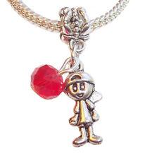 July Birthstone Little Boy Baby Red Crystal Dangle Bead Gift fits Charm Bracelet