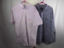 Lot of 2 Button Shirt XL 17 17 1/2 Van Heusen Nautica Red White Blue Stripe