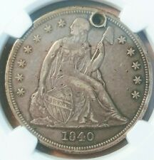 1840 Liberty Seated Silver Dollar First Year No Motto- NGC XF details- holed