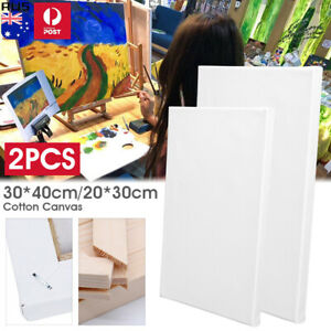 Artist Blank Stretched Cotton Canvas Art White Range Oil Acrylic White Wood 2pcs