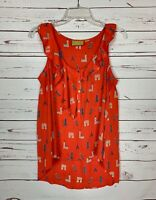 MAEVE Anthropologie Women's 4 Red Ruffle Eiffel Tower Spring Top Tank Blouse