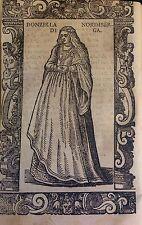 GERMANY/ ALEMANIA.Donzella di Norimberga (Nüremberg).Xilografía.Vecellio, 1590