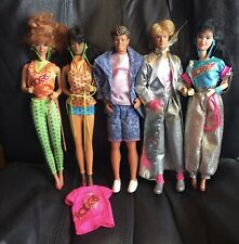 Lot of 5 1986 BARBIE & THE ROCKERS Real Dancing Action Dolls - Diva, Dana, Dee +