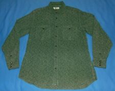 MEN'S RYAN MICHAEL GREEN SILK BLEND EMBROIDERED WESTERN PEARL SNAP SHIRT LARGE