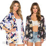 New Women Summer Floral Short Shawl Kimono Cardigan Tops Cover up Chiffon Blouse