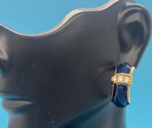 Gold Tone Blue Enamel Clear Crystals Signed Swarovski Pierced Earring