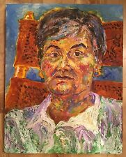 """Old Lady Portrait Painting Unknown Artist Impressionism 20.5""""x16"""" Oil or Acrylic"""