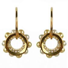 Boucles d'oreilles créoles plaqué or cristal donut doré perles nacrées blanches