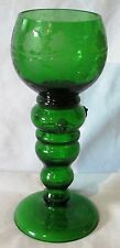 "Bohemian Grape Vine Etched Roemer Rhine Green Wine Goblet 7 1/4"" tall"