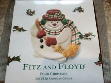 Fitz and Floyd (2063/126) Plaid Christmas Snowman Canape Tray Dish Plate