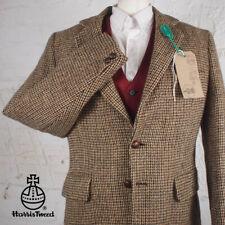 38R HARRIS TWEED Blazer Jacket Suit Light Plain Brown Hacking Wedding #722