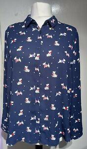 TU Navy Scottie Dog Print Blouse Shirt Top Size 16 UK Long Sleeve Collar Buttons