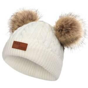 Newborn Kids Baby Warm Winter Wool Knitted Beanie Hat Double Pom Bobble Cute Cap