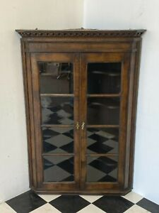 Antique glazed oak oversized wall hanging corner display cabinet - Delivery