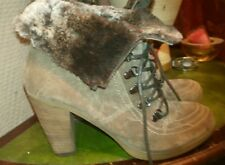 Gorgeous real suede / fur ankle boots in brown colour. Size UK 6 by JOHN LEWIS.