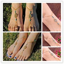 Hamsa Fatima Gold Blue Beach Sexy Summer Anklet Ankle Bracelet Barefoot Sandals