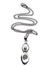 """Spiral Earth Goddess Pendant Diana Artemis Goddess 18"""" Chain Necklace Wiccan"""