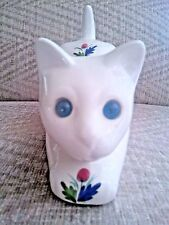 Vintage Life-Size Ceramic Stalking Cat ELPA Alcobaca Portugal, Blue Glass Eyes