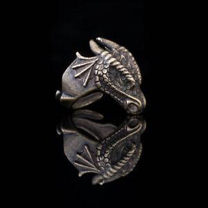 Dragon Head Ring, brass, adjustable size, handmade