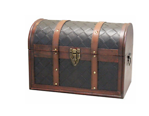 11.5 in. x 6.5 in. x 5 in. Wooden Faux Leather Treasure Chest