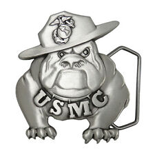 US Marine Corps Solid Pewter Bulldog Belt Buckle USMCBB201. Made in USA.