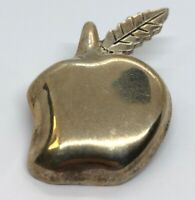 Vintage Sterling Silver Brooch Pin 925 Taxco Modernist Apple Mexico 11 Grams