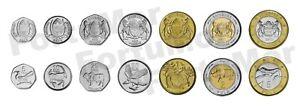 BOTSWANA SET OF 7 COINS, 5 10 25 50 THEBE 1 2 5 PULA 2013, UNC, ANIMALS, BIMETAL