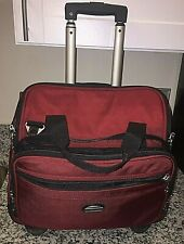 """Pathfinder Red Rolling Travel Luggage Suitcase 16""""x8""""x14"""" Carry-On Teachers EUC"""