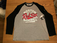 BOSTON RED SOX MLB NEW ERA MENS RAGLAN LONG SLEEVE BLACK/GRAY SHIRT M-L-2X