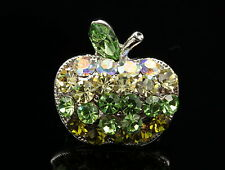 2 pcs peridot green gradual crystal rhinestone silver small apple brooch pin D34