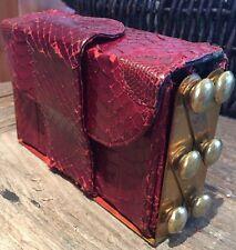 VTG RARE Gaffin Creations Snakeskin Brass Frame Accordion Step Clutch Purse Bag