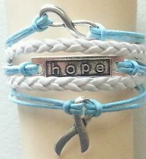 CANCER,HOPE,INFINITY,LEATHER BRAIDED ADJUSTABLE BRACELET-SILVER ALLOY BLUE #27