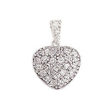 Heart Pendant Sterling Silver Platinum Plated 13mm Gemstone Heart Pendant