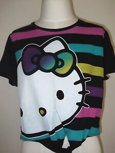 HELLO KITTY Women's Junior  Cropped T-shirt TOP SHIRT Tee S  M L  Black Fashion
