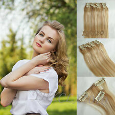 """New Clip in on Real Human Hair Extensions Black Brown Blonde Red Hot 14-22"""" THIN"""