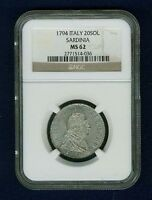 ITALY SARDINIA  1794 20 SOLDI COIN, CHOICE AND UNCIRCULATED, NGC CERTIFIED MS62