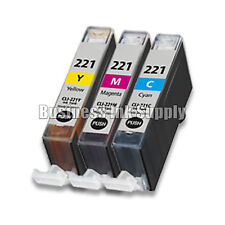 3 COLOR CLI-221 Canon CLI-221C CLI-221M CLI-221Y Ink Cartridge NEW CHIP CLI221