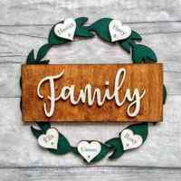 Personalised Wooden Hoop Circle Wreath Family Hearts Names Gift Home Wall Decor