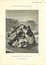 Luge Patins à Glace Tableau Charles-Édouard Boutibonne Peintre GRAVURE  1873