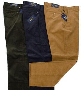 POLO RALPH LAUREN MEN CORDUROY CLASSIC FIT PANTS CAPER GREEN SPACE BLUE LT BROWN