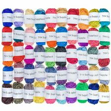 50 Acrylic Yarn Skeins Huge Lot Mixed Assorted Colors DK Weight Three FREE SHIP