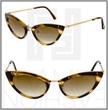 TOM FORD TF349 GRACE Cat Eye 47J Brown Honey Gold Mirrored Gradient Sunglasses