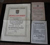 Nachlass Gesellenbrief Maschinenschlosser Darmstadt / Offenbach 1924